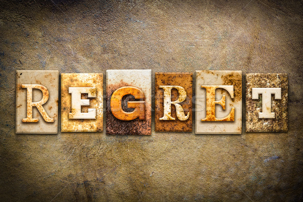 Regret Concept Letterpress Leather Theme Stock photo © enterlinedesign