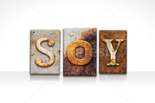 Soy Letterpress Concept Isolated on White Stock photo © enterlinedesign