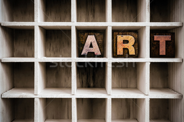 Art Concept Wooden Letterpress Type in Draw Stock photo © enterlinedesign