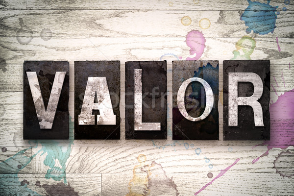 Valor Concept Metal Letterpress Type Stock photo © enterlinedesign