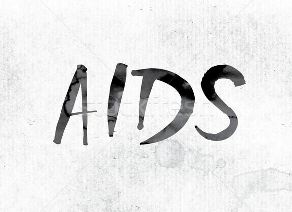 AIDS festett tinta szó vízfesték fehér Stock fotó © enterlinedesign