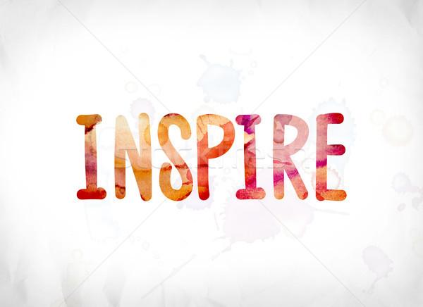 Ispirare verniciato acquerello parola arte colorato Foto d'archivio © enterlinedesign