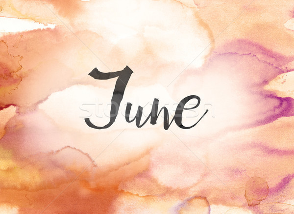 June Concept Watercolor and Ink Painting Stock photo © enterlinedesign