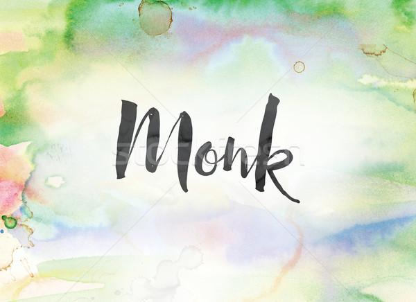 Monnik aquarel inkt schilderij woord geschreven Stockfoto © enterlinedesign