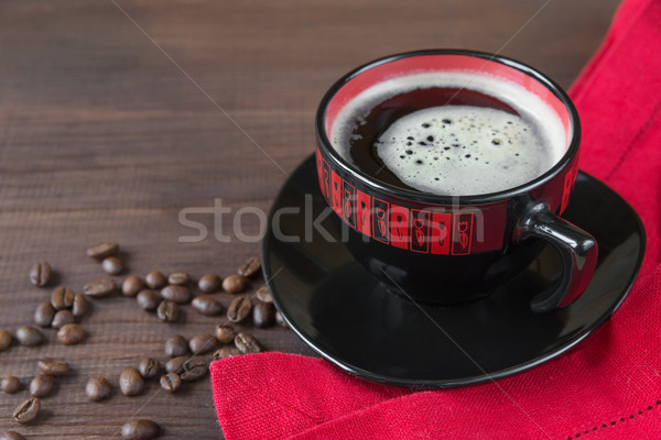 黒 赤 カップ コーヒー コーヒー豆 ナプキン ストックフォト © Epitavi
