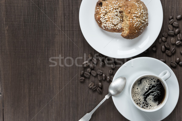 Kávé sütik feketekávé fehér porcelán csésze Stock fotó © Epitavi