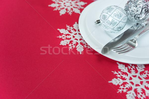 ストックフォト: 赤 · 白 · クリスマス · 表 · 銀 · ナイフ