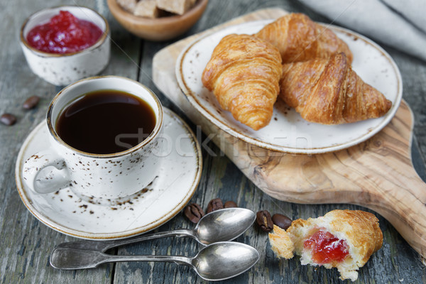 Morning coffee with a croissants Stock photo © Epitavi