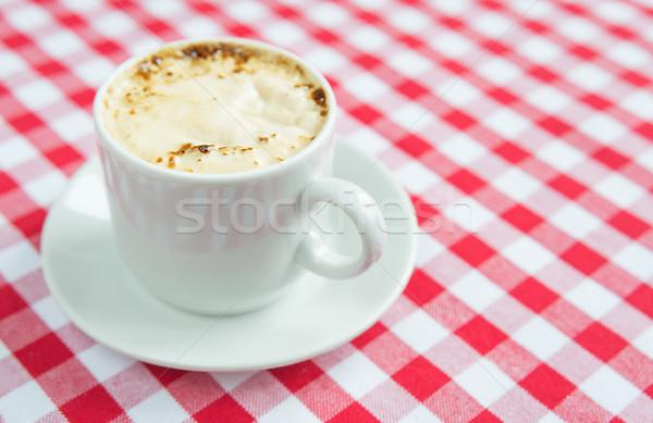 Zwarte koffie witte porselein beker rijke Rood Stockfoto © Epitavi