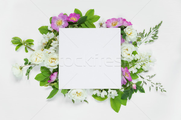 Scrapbook page with wild roses and white flowers Stock photo © Epitavi