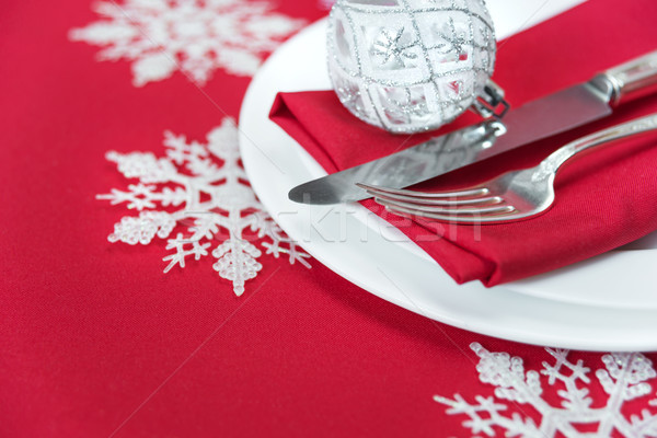 ストックフォト: 赤 · クリスマス · 表 · 銀 · ナイフ · フォーク