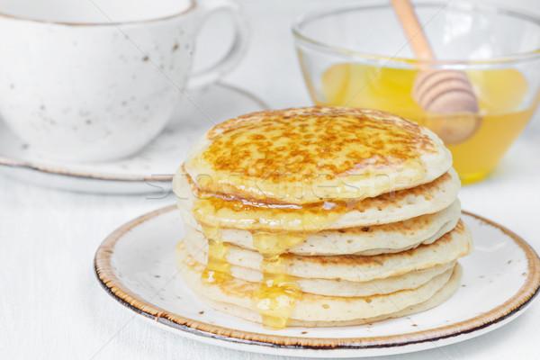 パンケーキ はちみつ スタック クローズアップ カップ ホット ストックフォト © Epitavi