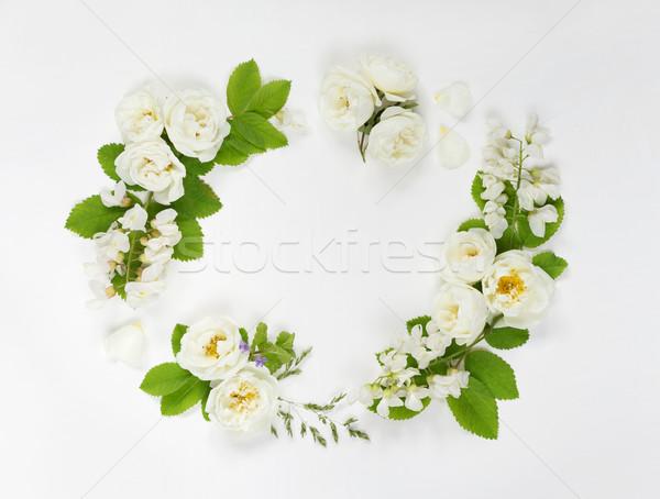 花輪 野の花 装飾的な レトロスタイル 白 ストックフォト © Epitavi