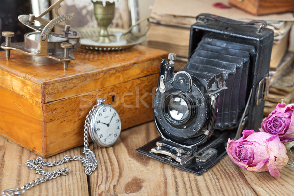 Vintage photo camera, pocket watches  and dried roses Stock photo © Epitavi
