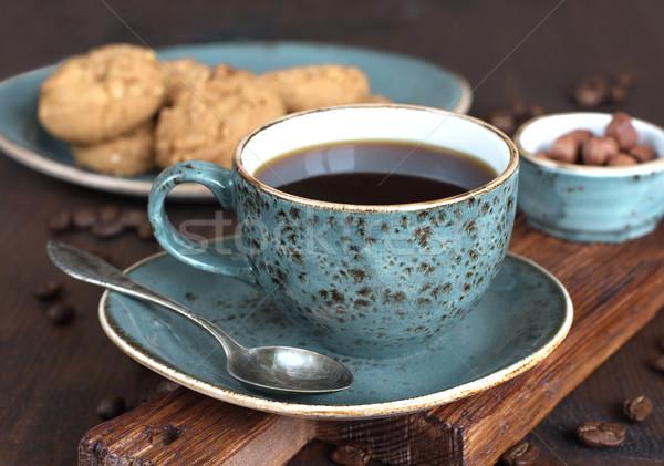 Zwarte koffie Blauw vintage beker oude donkere Stockfoto © Epitavi