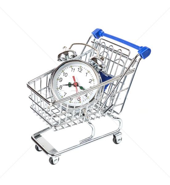 Alarm clock and shopping cart Stock photo © Epitavi