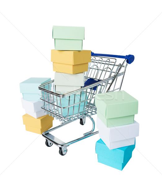 Tarka dobozok bevásárlókocsi izolált fehér születésnap Stock fotó © Epitavi