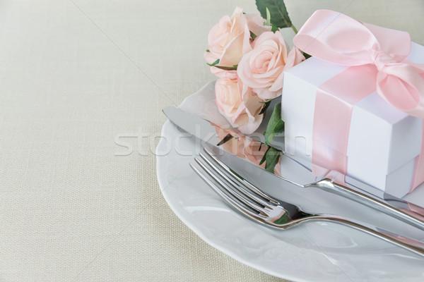 美しい 表 装飾された 白 プレート ギフトボックス ストックフォト © Epitavi