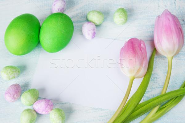 イースター チューリップ 卵 ピンク 色の卵 シート ストックフォト © Epitavi
