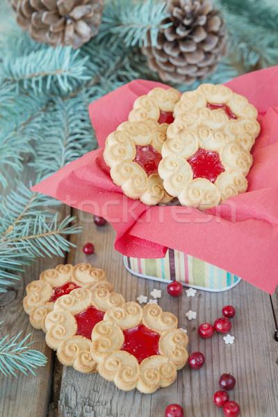 Сток-фото: Sweet · Рождества · Cookies · таблице · Jam · клюква