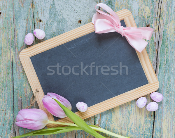 Easter composition with tulips and eggs Stock photo © Epitavi