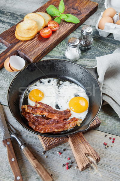 朝食 素朴な スタイル フライド 卵 ストリップ ストックフォト © Epitavi