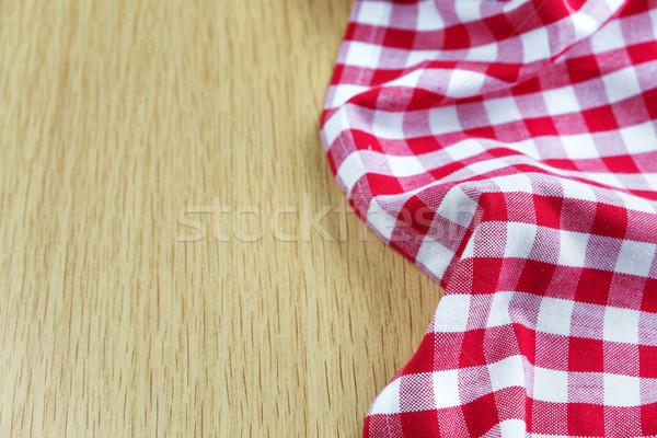скатерть деревянный стол хлопка красный белый Ложь Сток-фото © Epitavi
