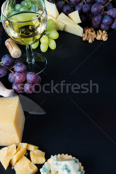 白ワイン スナック チーズ ブドウ 黒 ストックフォト © Epitavi