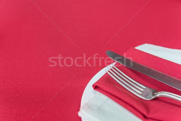 élégante lieu rouge nappe argent Photo stock © Epitavi