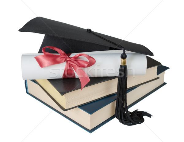 Stockfoto: Afgestudeerde · hoed · boeken · scroll · zwarte
