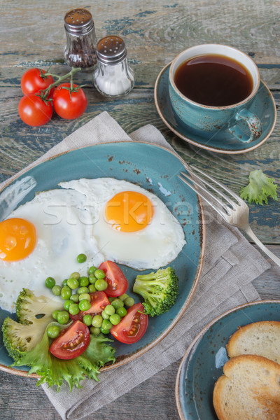 Stock photo: Fried eggs,  bacon, tomato, toast and a cup of coffee