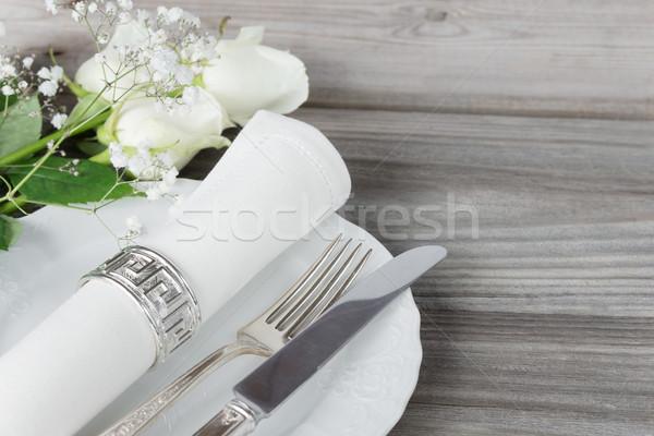 Foto stock: Belo · tabela · decorado · branco · placas