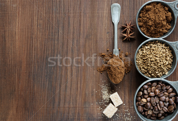 Stock photo: Different types of coffee on a wooden background