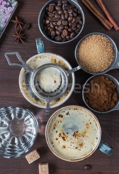 Stok fotoğraf: çift · kahve · iki · kahve · çekirdekleri · zemin