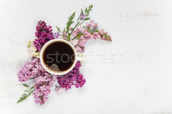 コーヒー 異なる ライラック 花 カップ 木製 ストックフォト © Epitavi