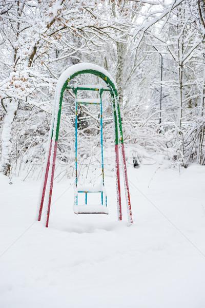 Hiver parc abandonné couvert neige ciel Photo stock © Epitavi