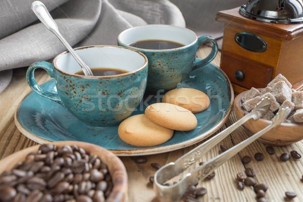 Café galletas dos azul café negro Foto stock © Epitavi