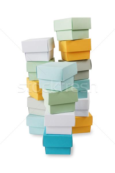 Veelkleurig dozen witte verscheidene hoog geïsoleerd Stockfoto © Epitavi