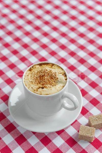 Zwarte koffie witte porselein beker riet suiker Stockfoto © Epitavi