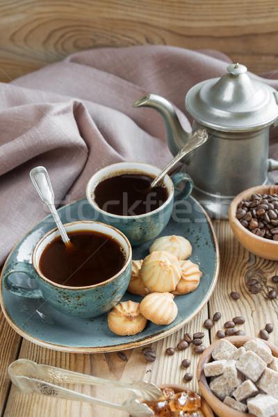 コーヒー クッキー 2 青 カップ ブラックコーヒー ストックフォト © Epitavi