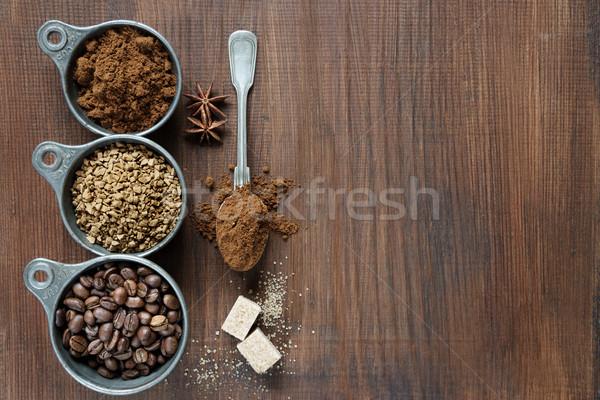 Különböző kávé fából készült kávé instant kávé föld Stock fotó © Epitavi
