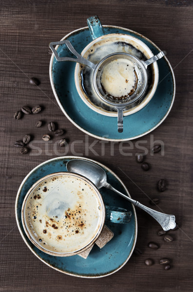 Kettő csészék kávé felső kilátás kávé Stock fotó © Epitavi
