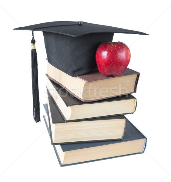 Stockfoto: Afgestudeerde · hoed · boeken · appel · zwarte