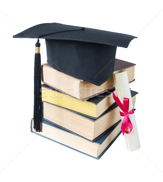 大学院 帽子 図書 スクロール 黒 スタック ストックフォト © Epitavi