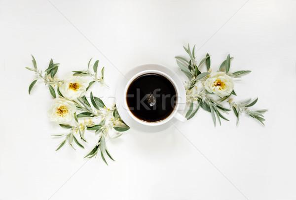 Morning coffee and white wild roses Stock photo © Epitavi
