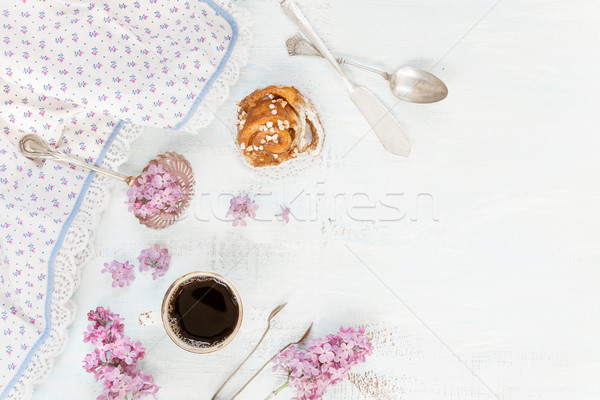 Zwarte koffie kaneel ontbijt beker servet Stockfoto © Epitavi