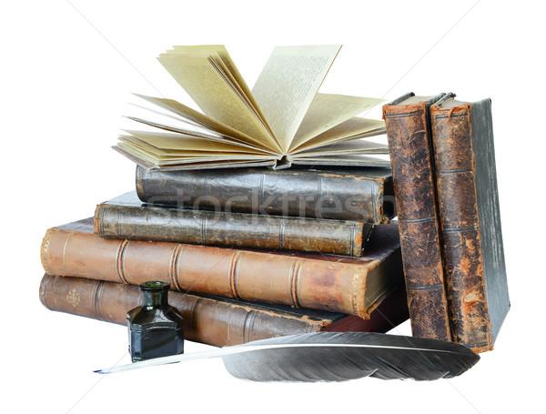 Old books on a white background Stock photo © Epitavi