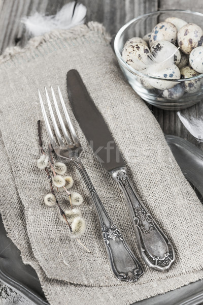 Easter decoration with ancient silverware Stock photo © Epitavi