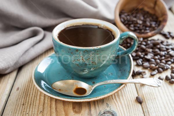 черный кофе кофе синий Кубок ткань Сток-фото © Epitavi