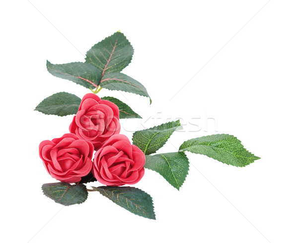 Artificial flores jabón rosas rojas hojas aislado Foto stock © Epitavi